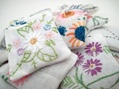 20 Dried Lavender Sachets  Embroidered Sachets  by ChaosToArt, $30.00