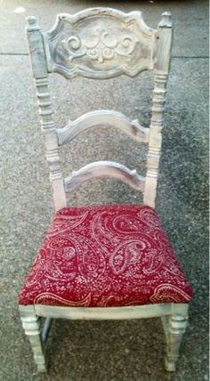 Chabby Chic High Back Wood Chair $20 (Lakewood) I would change the red seat cover to something else!