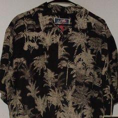 La Cabana Hawaiian Aloha Shirt XL Extra Large NWT Black Palm Trees Linen Rayon #LaCabana #Hawaiian