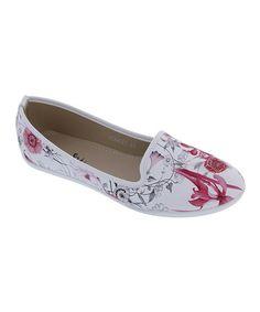 Look at this #zulilyfind! Red & White Floral Scarlet Flat by Machi Footwear #zulilyfinds