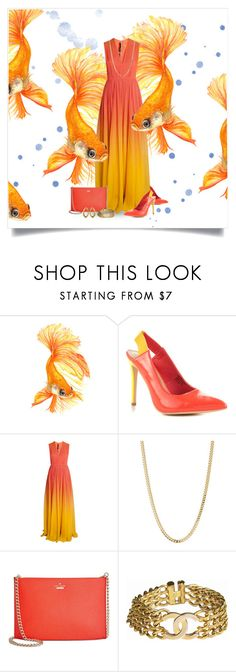 """""""Goldfish"""" by nicole-christie-mennen ❤ liked on Polyvore featuring Aquarelle, Penny Loves Kenny, Elie Saab, Bianca Pratt, Kate Spade, Chanel and International"""