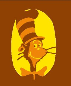 Cat in the Hat Halloween Pumpkin template.  Yellow is fully cut out, orange is skinned, brown is untouched.