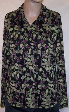 CROFT & BARROW Sz L Shirt Top Nylon Mesh Button Front Stretch Long Sleeves Women #CroftBarrow #ButtonDownShirt #Casual