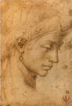 Michelangelo. Drawing of a Head. Chal