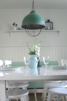 industrial green by moph Pipe Furniture, Industrial Furniture, Industrial Chic, Dining Table, Dining Room, Home Collections, Decorating Tips, Indoor, Ceiling Lights