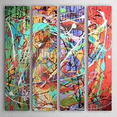 pintados à mão pintura a óleo abstrata, com quadro esticado - conjunto de 4 - EUR € 118.17