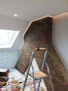 Check out this loft conversion in Wandsworth. The chimney breast has been left e. Check out this loft conversion in Wandsworth. The chimney breast has been left exposed with the ori Attic Apartment, Attic Rooms, Attic Spaces, Attic Playroom, Attic Bedroom Designs, Attic Design, Bedroom Loft, Closet Designs, Attic House