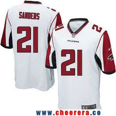 Men's Atlanta Falcons #21 Deion Sanders Retired White Road Stitched NFL Nike Game Jersey