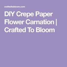DIY Crepe Paper Flower Carnation | Crafted To Bloom