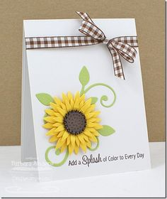 handmade card ... gorgeous die cut sunflower with lots of layers ...brown gingham ribbon for a country theme ... great sentiment ... beautiful card ... My Favorite Things ...