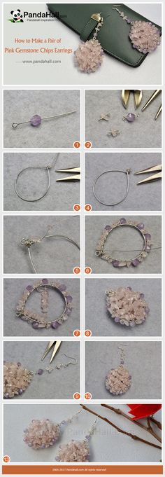 PandaHall Inpiration Project----Pink Gemstone Chips Earrings Are you curious about how to thread the gemstone chips into a pair of earrings? Today's tutorial will give your answer, follow me to find out the way. #PandaHall #earrings #jewelry #gemstone #diy #tutorial #craft