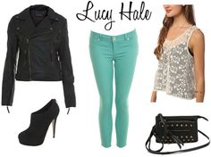 Leather jacket, teal pants, white or linen top. Black boots or heels