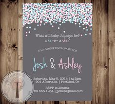 Confetti Gender Reveal Party Invitation Gender by T3DesignsCo, $12.99