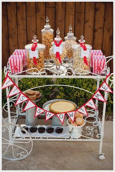 """it's showtime"" shabby chic popcorn station..would be cute for pre-ceremony refreshements."
