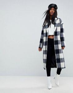 Great jacket under $100. ASOS Check Slim Coat with Pocket Detail. #affiliate