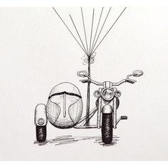 Moto Harley con globos para huellas