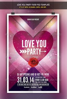 Love You | Valentine Party Flyer #GraphicRiver