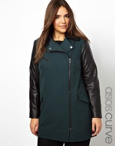 ASOS CURVE Exclusive Plus Size Coat With Leather Look Sleeves