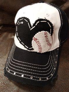 Rhinestone baseball mom love distressed ball cap by BlingirlSpirit, $26.95