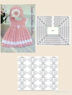 Crochet Baby Dress Pattern, Crochet Doll Dress, Crochet Fabric, Baby Girl Crochet, Crochet Baby Clothes, Crochet Diagram, Crochet Stitches, Crochet Patterns, Crochet Top
