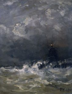 Lighthouse in the Surf. Hendrik Willem. Mesdag.