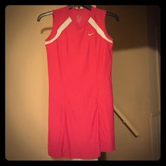Chic Bright Pink Tennis Dress by Nike -XL So cute! Reposh, 'cause I thought it'd fit a size 12, but truly this is a super form fitting dress. Would advise for a size 10 at the most.  No pilling or stains. Nike Dresses