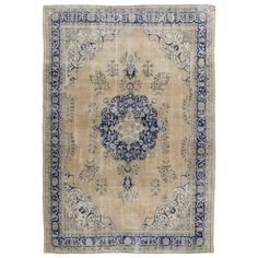 Vintage Turkish Oushak Rug - Beige, Cream and Blue Color | See more antique and modern Turkish Rugs at http://www.1stdibs.com/furniture/rugs-carpets/turkish-rugs