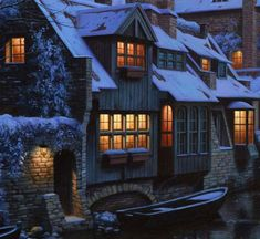 "Boat House Windows and Lights (detail from ""Twilight in Brugge"" by Eugene Lushpin)."