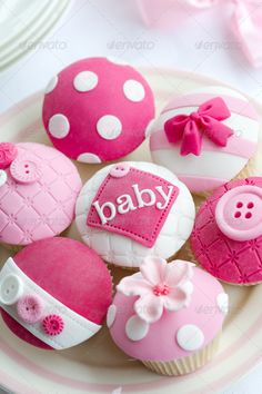 Baby girl shower cupcakes. Ideas for baby shower. Illustration / stock photo for blog for only 5$.