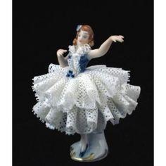German Dresden Lace Porcelain Figurine