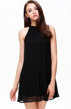 Simple Black Trapeze Dress