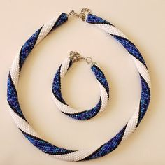 White with Blue crochet Set Necklace Bracelet Czech beads rope Statement Elegant Necklace Gift idea