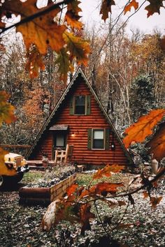 Cabins And Cottages: A-frame in the woods and log siding exterior Log Siding, Exterior Siding, A Frame Cabin, A Frame House, Cabin In The Woods, Getaway Cabins, Autumn Cozy, Cabins And Cottages, Log Cabins