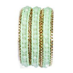 Soft Mint Kathmandu Wrap Bracelet