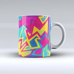 The Bright Retro Color-Shapes ink-Fuzed Ceramic Coffee Mug from DesignSkinz