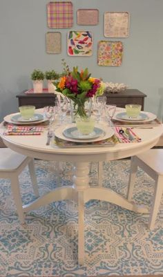 DIY stenciled rug. Another photo of this great how-to stencil project from YummyMummyClub.