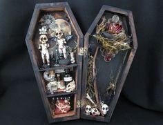 Miniature mixed media coffin curio shadow box