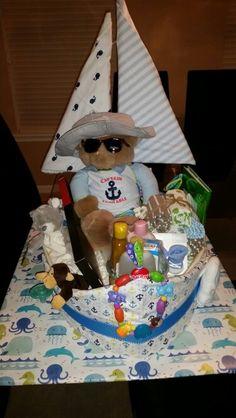 Sailboat diaper cake nautical theme #diapercake #sailboat #babyshower