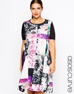 ASOS CURVE T-Shirt Dress In Mono Photographic Floral