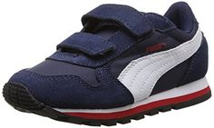 Puma ST Runner NL V Kids, Unisex-Kinder Sneakers, Blau (peacoat-white-high risk red 03), 30 EU (11.5 Kinder UK) - http://kameras-kaufen.de/puma/puma-st-runner-nl-v-kids-unisex-kinder-sneakers-red