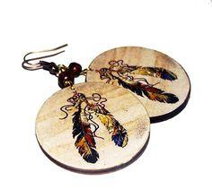 Decoupage earrings boho hippie style bronze feathers by SzaraLotka, $12.00