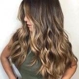 Gorgeous long brunette hair with rich blonde balayage hair color