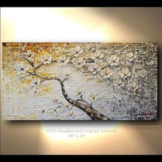 ORIGINAL Painting 24x48 White Flower Gold Brown Grey Flower Abstract Painting Art Canvas oil Wall Decor Artwork Impasto Textured art by OTO
