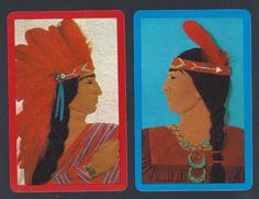 930 600 Vintage Swap Card Near Mint Pair Native American Indians Red Blue | eBay