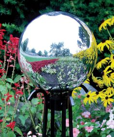 $24.95 - Echo Valley - Quality Home and Garden Products - Silver Gazing Globe. 10 inches