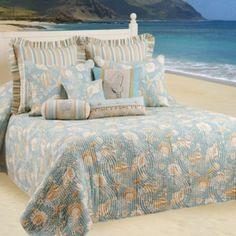 See more detail about Natural Shells Bedspread Beach Cottage Decor, Coastal Decor, Coastal Furniture, Coastal Living, Beach House Bedroom, Ocean Bedroom, Beach Bedrooms, Cottage Bedrooms, Beach Condo