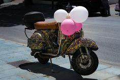 Scooter, Moto, Balões, Cor