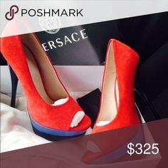 Versace pumps Red suede. Blue heel sz 40.5 Versace Shoes Heels