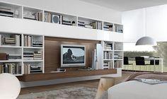 Minimalistisch-Wohnzimmer-mit-Wand-Einheiten-und Lampen-Design-Ideen