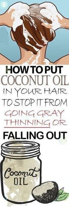 How to Put Coconut Oil to the Hair and Stop Premature Hair Graying, Thinning, and Falling - Hair Loss Natural Hair Care, Natural Hair Styles, Excessive Hair Loss, Do It Yourself Fashion, Hair Remedies, Strong Hair, Tips Belleza, Belleza Natural, Going Gray